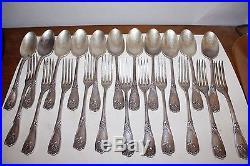 11 Fourchettes + 11 Cuilleres A Soupe Metal Argente Art Nouveau Decor Iris