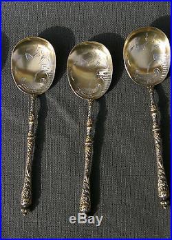 11 cuillères à glace argent' ice cream spoons' vermeil ART NOUVEAU DESSERT