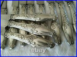 12 Anciens Couteaux Art Nouveau Argent Massif 1900 Silver Jugendstil Knives