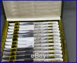 12 COUTEAUX A DESSERT ENTREMETS ARGENT MINERVE (dessert knive) ART NOUVEAU