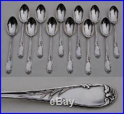 12 CUILLERES A CAFE ARGENT MASSIF ART NOUVEAU FLEUR Sterling Silver Coffee Spoon