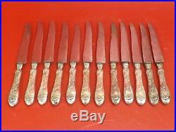 12 Couteaux Art Nouveau, Manches en Argent Massif. Travail Allemand, vers 1900