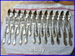 12 Couverts Boulenger Art Nouveau Iris Métal Argenté Silver Plated Cutlery