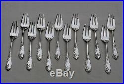 12 FOURCHETTES A GATEAU ARGENT MASSIF ART NOUVEAU FLEURS Sterling Silver Forks