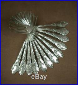 12 Fourchettes Métal Argenté Modele Chardons Art Nouveau Orfvevre Boulenger
