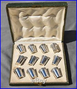 12 Gobelets Verres Liqueurs Argent Massif Minerve silver goblets ART NOUVEAU