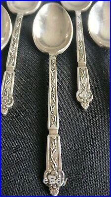 12 Petites cuilleres en metal argente Art nouveau