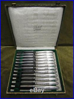 12 couteaux à dessert métal argenté Ercuis iris art nouveau (dessert knives)