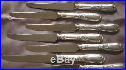 12 couteaux à fromage métal argenté modèle art nouveau volubilis Lames inox