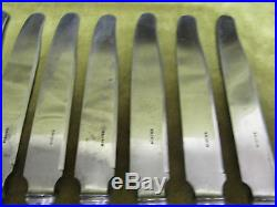 12 couteaux de table métal argenté Ercuis iris art nouveau (dinner knives)