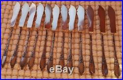 12 couverts (24 couverts) à poisson argent massif minerve titre 1 et vermeil