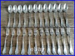 12 couverts Boulenger modèle iris métal argenté. 24 pièces art nouveau. 1900