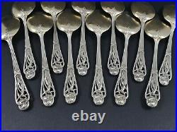 12 cuillères pelles à glace en argent massif Art Nouveau minerve fleurs vermeil