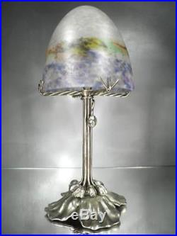 1910-20 Muller Frères Lampe En Bronze Argenté Et Pte De Verre Art Nouveau