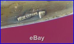 1910 rare plat FELIX FRERES présentoir compartiment 40c métal argent art nouveau
