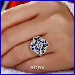 2.85 Carats Bleu Sapphire-Diamonds Art Déco Mariage Fiançailles Bague 925 Argent