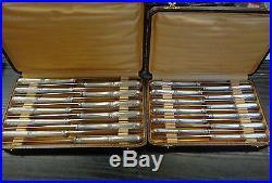 2 Coffrets Couteaux Metal Argente Orbille 24 Pieces Modele Rinceaux