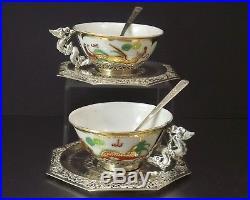 2 Tasses En Argent Massif Et Porcelaine Orfevrerie Chine Indochine Debut Xx°