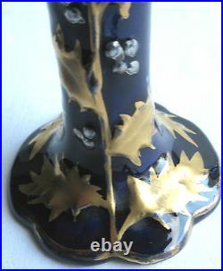 2 Vases Art Nouveau Jugendstil céramique de NIMY, bleu de Tours HOUX Or & Argent