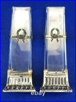 2 vases art nouveau jugenstil art & craft cristal / argent silver crystal