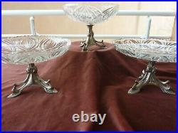 3 coupes compotiers piètements art nouveau, style nouille, verre et metal argenté