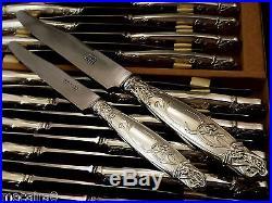 32 Dumas Aine Et Vauzy Menagere De Couteaux Art Nouveau Metal Argente Vers 1900