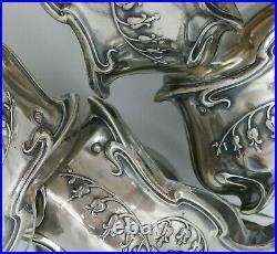 4 salerons/salières argent massif Minerve, décor muguet, Art Nouveau