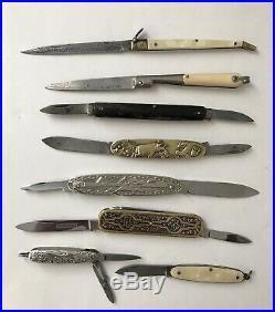 8 couteaux de poche 19/20ème de collection/damas/art-nouveau/Franc-maçon/argent