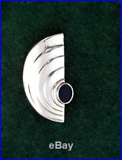 925 Argent géométrique Art déco Broche avec Onyx 9901595
