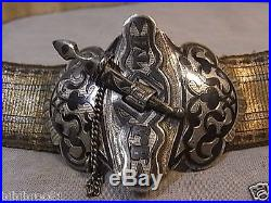 d2392c3540e8 ANCIENNE CEINTURE BOUCLE ARGENT MASSIF RUSSE 84 NIELLE EMAIL BOUTON COUTEAU  BELT
