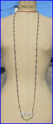 ANCIENNE CHAINE SAUTOIR EN ARGENT MASSIF MAILLE ANCIENNE LONGUEUR 136 cm