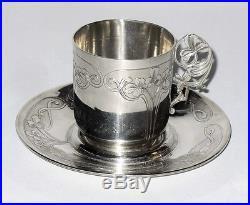 ANCIENNE TASSE A CAFE EN ARGENT MASSIF EPOQUE ART NOUVEAU POINCON MINERVE XIX