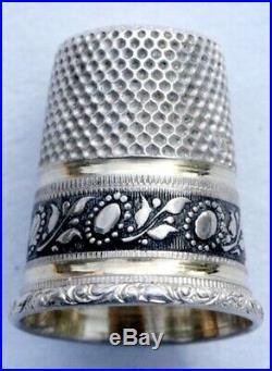 ARGENT MASSIF Ancien nécessaire de couture Ciseaux Fleur Pavot Art Nouveau etui