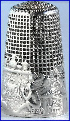 ARGENT ancien dé à coudre Fable LA FONTAINE singe Antique french silver Thimble