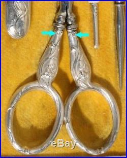 ART NOUVEAU ARGENT Ancien nécessaire de couture Sewing etui à coudre scissors