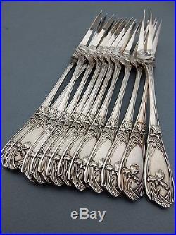 ART NOUVEAU ORCHIDEE IRIS MAXIM'S 12 PIQUES escargot Métal argent RARE + Coffret