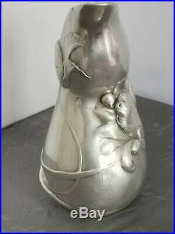 ART NOUVEAU SPLENDIDE PICHET CARAFE EN METAL ARGENTE 1307g