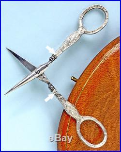ART NOUVEAU nécessaire de couture ancien ARGENT Antique Sewing étui à aiguilles
