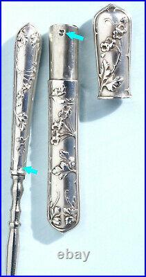 ART NOUVEAU nécessaire de couture ancien ARGENT Ciseaux brodeuse SEWING scissors