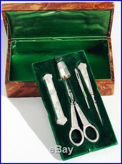 ART NOUVEAU nécessaire de couture ancien ARGENT antique Silver thimble Ciseaux