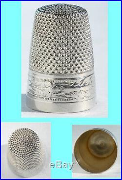 ART NOUVEAU nécessaire de couture ancien ARGENT écrin cuir ciseaux à coudre etui