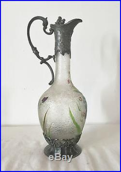 Aiguière Art Nouveau WMF Métal Argenté Cristal Dégagé Acide Décor Iris Carafe TB
