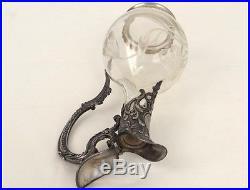 Aiguière Louis XV argenté cristal fleurs rocaille Art Nouveau XIXème siècle