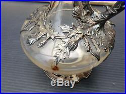 Aiguière carafe argent massif Auguste Debain fin 19ème art nouveau ewer 1900