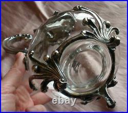 Aiguière 1900 en verre et métal argenté de style Louis XV / Rococo qqs rayures