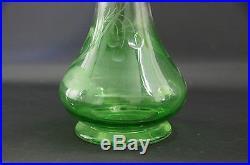 Aiguière Ancienne Cristal Vert Taillé Gravé Métal Argenté Art Nouveau