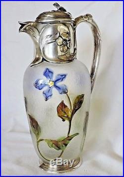 Aiguiere En Metal Argente Gallia Christofle Decors De Violettes Art Nouveau
