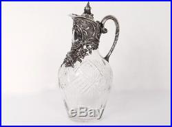 Aiguière cristal taillé métal argenté angelots fleurs Art Nouveau XIXème