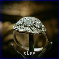 Ancien Art Déco 2.28CT Diamant Rond Vintage Bague de Fiançailles 925 Argent