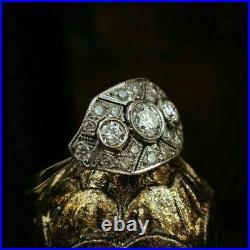 Ancien Art Déco 2.28CT Diamant Rond Vintage Bague de Fiançailles 925 Argenté